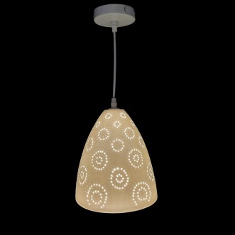 Suspension lampe porcelaine biscuit